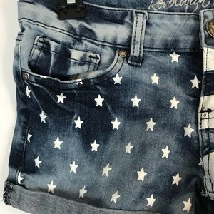 Revolt Jeans Shorts - Revolt Cuffed Shorts Stars and Strips Size 3